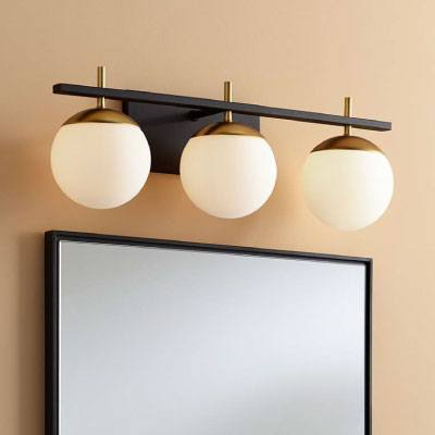 "George Kovacs Alluria 24"" W Black and Gold 3-Light Bath Light"