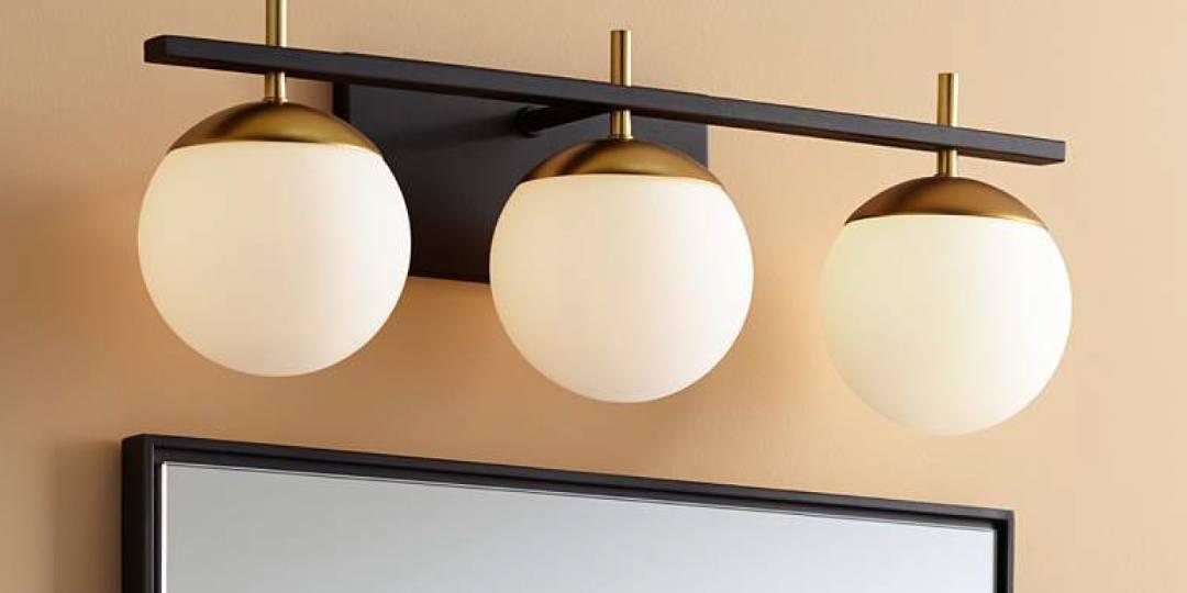 """George Kovacs Alluria 24"""" W Black and Gold 3-Light Bath Light"""